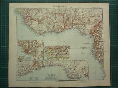 1907 Dated Map ~ West Coast Africa Guinea Possessions Lower Congo West Cameroon