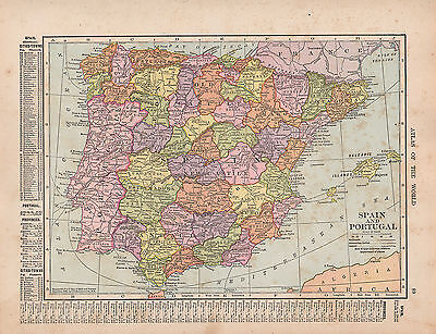 1909 Map ~ Spain & Portugal With Cities-Towns Old Castile Andalusia Estremadura
