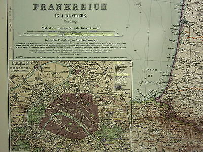 1907 Dated Map ~ France South West Portion ~ Paris City Plan Environs Pyrenees