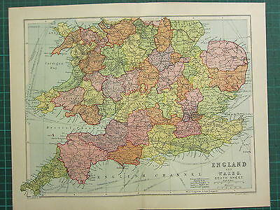 1904 Antique Map ~ England & Wales South Sheet ~ London Sussex Cornwall Norfolk