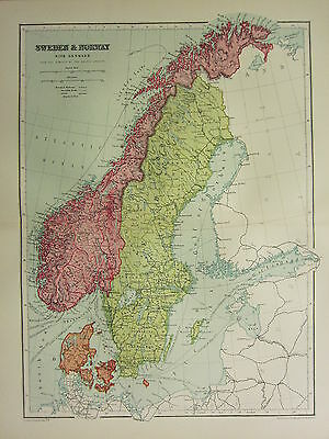 1904 Antique Map ~ Sweden & Norway With Denmark ~ Gothland Christiansand Bergen