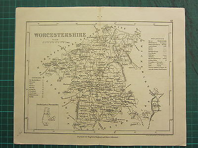 c1835 ANTIQUE COUNTY MAP ~ WORCESTERSHIRE DAYLESFORD EVENLOAD STOURPORT HINDLIP