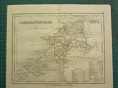 c1835 ANTIQUE COUNTY MAP ~ CAERNARVONSHIRE WALES ~ BANGOR ABERCONWAY STATIONS