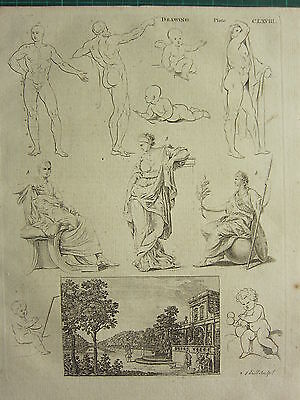 1797 Georgian Print ~ Drawing Various Examples Male & Female Form Sculpture