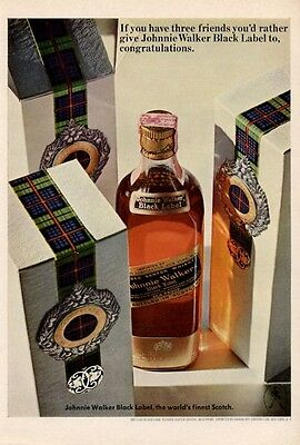 1965 Johnnie Walker PRINT AD Black Label Scotch Whisky  great colorful decor