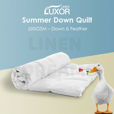 200GSM White Duck Down Feather Summer Quilt Doona Duvet Blanket All Size