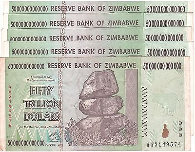 5 X Zimbabwe 50 Trillion Dollars CIRCULATED AA/2008  / $100 Trillion Series