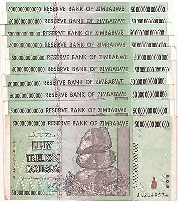 10 X Zimbabwe 50 Trillion Dollars CIRCULATED AA/2008 / $100 Trillion Series