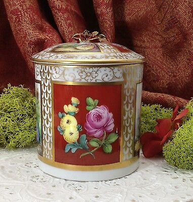 """Crimson Fancy"" Dresden Porcelain Covered Jar with Pastoral Romancing Scenes"