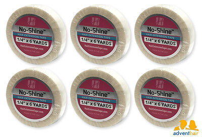 """No Shine Hair Extension Tape Roll 1/4"""" x 6 yds WALKER wig hairpiece - 6 rolls"""