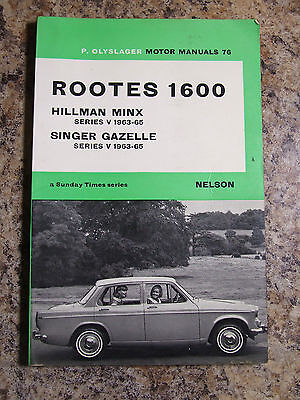 Rootes 1600 Hillman Minx Singer Gazelle Manual P Olyslager Sunday Times Series