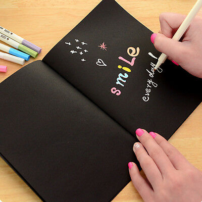 New Black Cover Back Sketch book Notebook A6 Journal Inner Black Drawing Papers