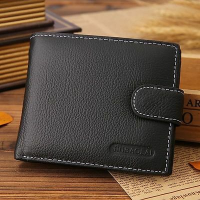 Men's Genuine Leather Cowhide Bifold Wallet ID Credit Card Photo Holder Purse
