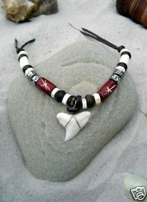 SURF STYLE SHARK TOOTH NECKLACE surfer beach /n188aviwh