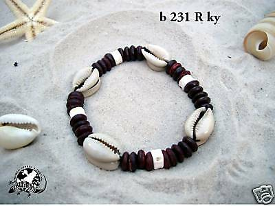 SURFER STYLE KAURI SHELL BRACELET red coco surf/b231Rky