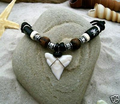 GENUINE SHARK TOOTH SURFER PENDANT NECKLACE /n189svi