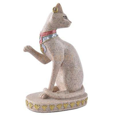 Hand Carved Ancient Egyptian Mau Cat Seated Deity Luck Wealth Statue Decor