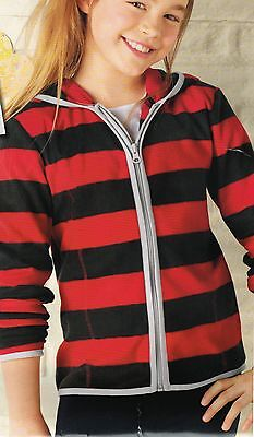 Girls Red And Black Stripe Hooded Fleece Jacket Age 6-8 Years Bnwt