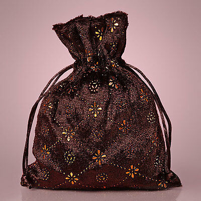 "NEW Brown 5"" x 7"" Pressed Velvet Drawstring Bag Pouch"