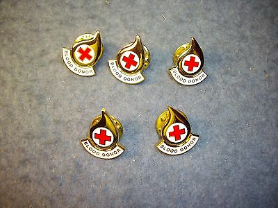 Eight pieces, AMERICAN  RED CROSS BLOOD DONOR PINS , 8 pcs,  lapel/tie tac,