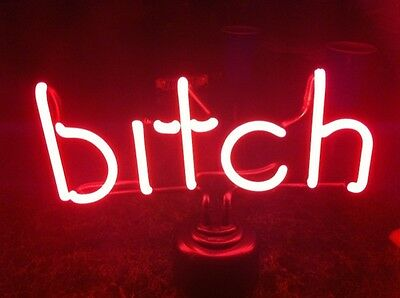 Pink Neon Bitch Lamp Sign Bikers REAL GLASS! Funny-Must Read NIB Motorcycle