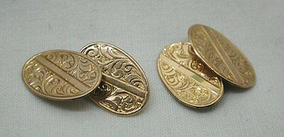 1920's Vintage Lovely Pair of 9ct Rose Gold Engraved Cufflinks