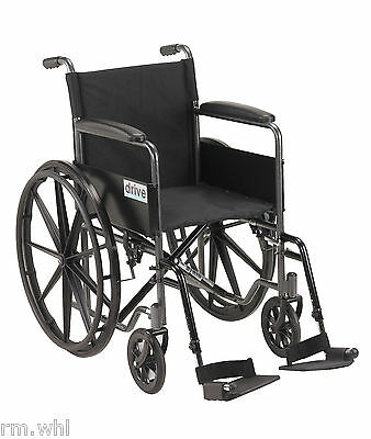 Silver Sport 1 Folding Wheelchair Full Arms & Removable Footrest Drive Medical