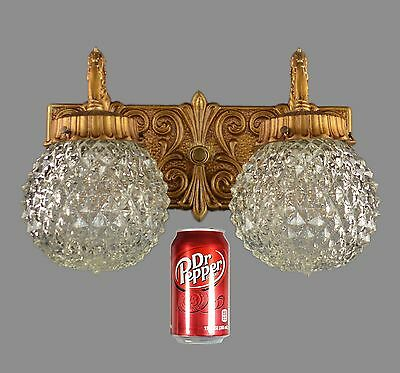 Single Brass Vanity Bathroom Sconce c1950 Italian Gold Ornate Mirror Light