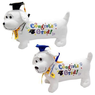 Congrats Grad Happy Graduation Dog Signing Pen Autograph Stuffed Animal Gift Toy