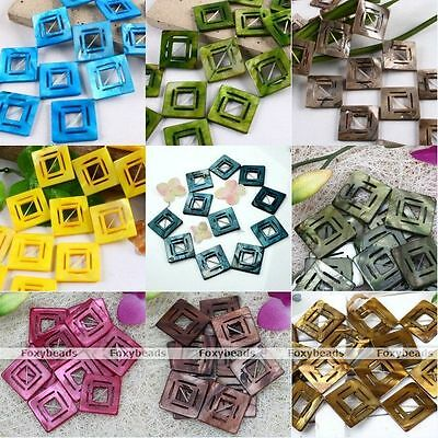 38mm Square MOP Shell Loose Charm Beads Findings For Women Fashion Jewelry DIY