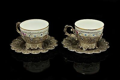 Antique Original Perfect Silver Ottoman Amazing Double Cup Of Set