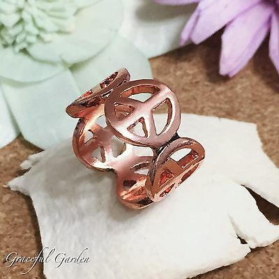 CR2140 Graceful Garden Vintage Style Anitque Rose Gold Tone Peace Sign Ring #9