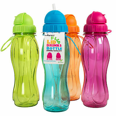 Set of 4 Flip Lid BPA Free Plastic Water Drinks Bottles Kids School Sport Gym