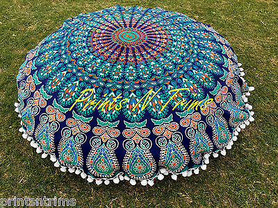 Round Mandala Floor Cushion Cover Indian Boho Tapestry Beach Picnic Throw Towel