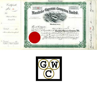 3x 1914 Share Certificates for the Manitoba Gypsum Company (11839)