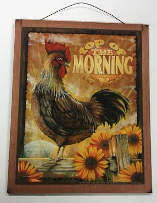 ROOSTER RISE AND Shine country kitchen wooden wood wall art sign ...