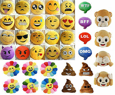 New Emoji Smiley Emoticon Yellow Round Cushion Pillow Stuffed Plush Soft Toy