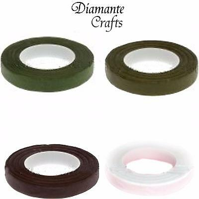 Florist Stem Tape - Buttonhole Floral Craft Floristry Green White Brown Lt Green