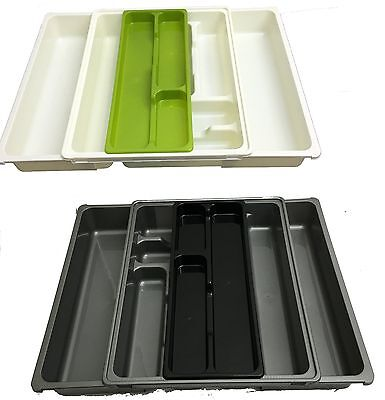 Plastic Cutlery Tray Adjustable Draw Organiser Kitchen Utensil Holder Large New