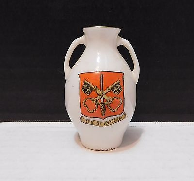 ANTIQUE CRESTED CHINA JUG VASE by W H GOSS *SEE OF EXETER* with goshawk stamp