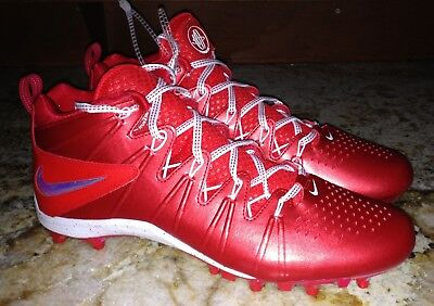 NIKE Huarache LAX 4 Mid TD RED Molded Lacrosse Football Cleats NEW Mens 8 10 12