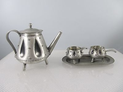 Vintage KAFFEE SET Norway ZINN 4teilig - S. Borg - Can, Sugar, Creamer, tablet