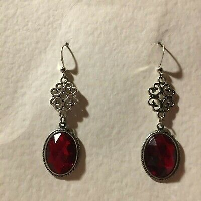 Lacy Filigree Victorian Style Red Crystal Dark Silver Plated Drop Earrings Hook