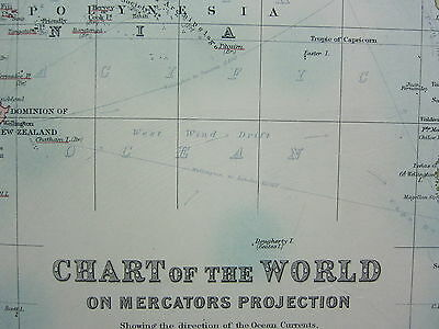 1910 Map ~ Chart Of The World Ocean Currents Routes Ports Australia Americas