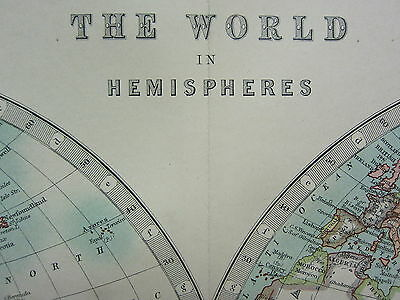 1910 Map ~ The World Western & Eastern Hemispheres Central America Africa Asia