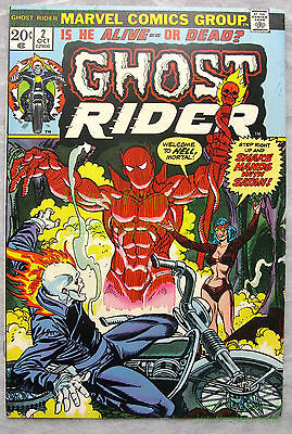 Ghost Rider #2 1973 20¢ 1st Appear Hellstrom AKA Son of Satan KEY BIG PICS!