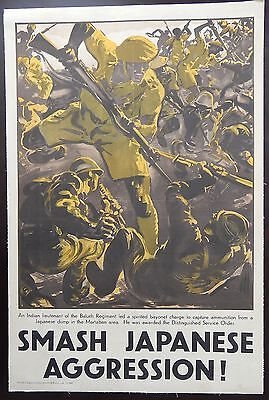 "Original WWII British Poster ""Smash Japanese Aggression"" Linen 20x30 Recruiting"