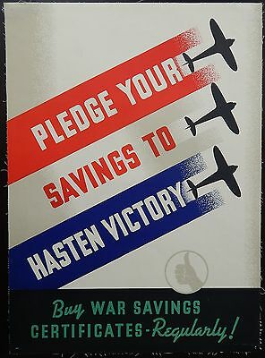 Original WWII British Poster War Savings Bonds Aviation Linen 19x26