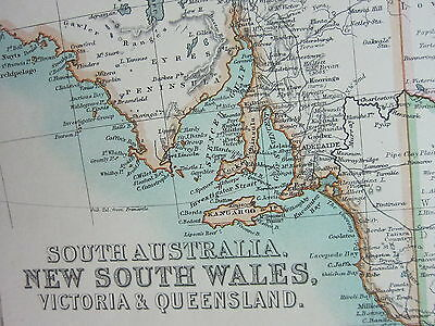 1910 Map ~ South Australia New South Wales Vicotira & Queensland
