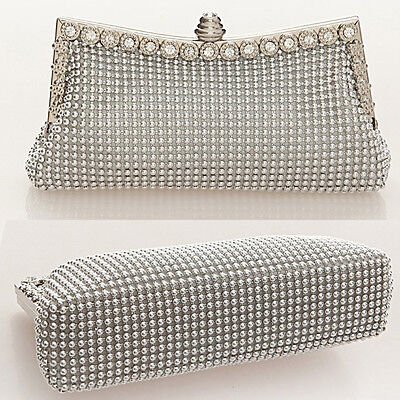 Beaded Clutch Bag Diamante Purse Bridal Handbag Wedding Ladies Evening Prom